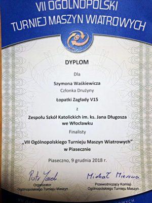 Szymon Waśkiewicz finalistą VII Ogólnopolskiego Turnieju Maszyn Wiatrowych