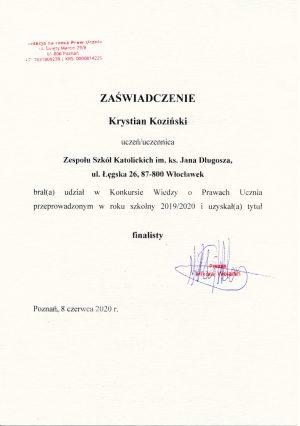 Finalista Konkursu Wiedzy o Prawach Ucznia