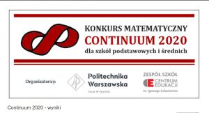 Podsumowanie Ogólnopolskiego Konkursu Matematycznego Continuum 2020